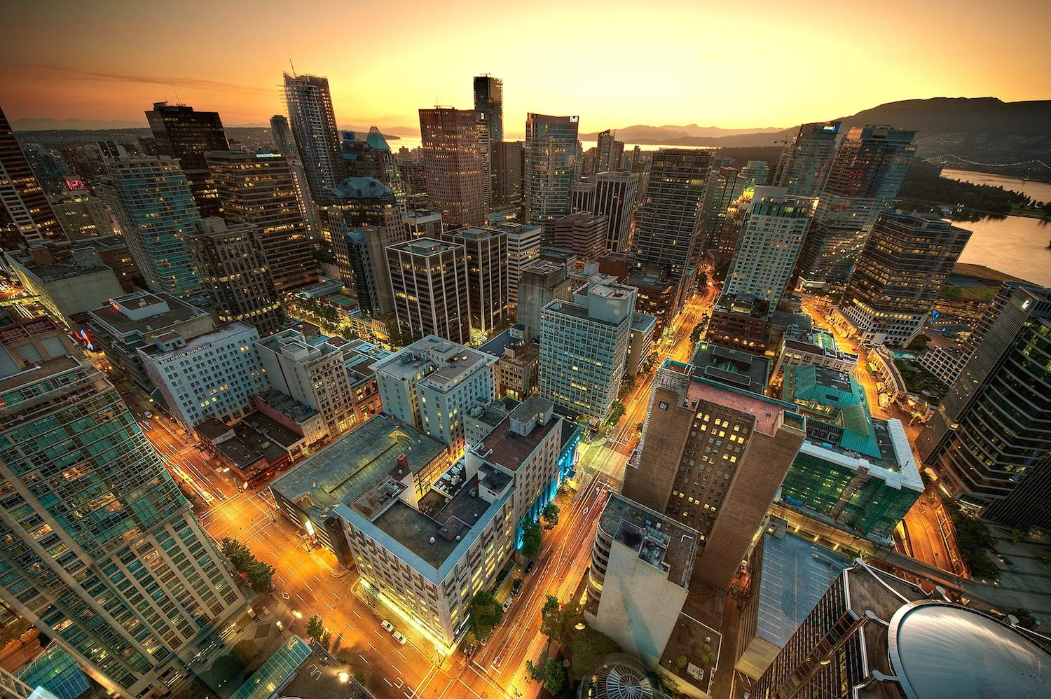 Vancouver cityscape at sunset